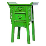 Product ID : 7020 - Category : Small Cabinet - Product Name : Chinese Altar Style Green Lacquer Painted Small Site Table with 2 Drawers