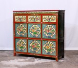 Product ID : 6904 - Category : Long Sideboard - Product Name : Tibetan Style Lacquer Painted Sideboard with Flower Pattern