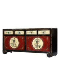 Product ID : 7091 - Category : Long Sideboard - Product Name : Chinese Vintage Style Black and Red Lacquer Painted Sideboard