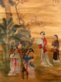 Product ID : 6363 - Category : Painting - Product Name : Vintage Chinese Original Water Ink Hand Painting Scroll The Lady