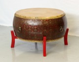 Product ID : 6239 - Category : Coffee Table - Product Name : Chinese Red Lacquer Gold Pattern Double Sided Cowhide Leather Drum