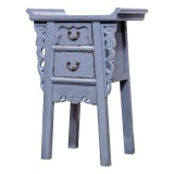 Product ID : 7052 - Category : Small Cabinet - Product Name : Chinese Altar Style Gray Lacquer Painted Small Site Table with 2 Drawers