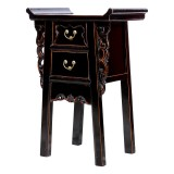 Product ID : 6976 - Category : Small Cabinet - Product Name : Chinese Altar Style Black Lacquer Painted Small Site Table with 2 Drawers