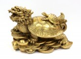 Product ID : 6404 - Category : Other Decor - Product Name : Brass Dragon Turtle 黃銅招財龍龜