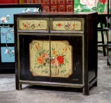 Product ID : 6770 - Category : Sideboard - Product Name : Chinese Black and Yellow Lacquer Painted Side Cabinet 2 Drawers 2 Doors