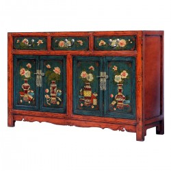 Product ID : 6244 - Category : Sideboard-Long - Product Name : Chinese Lacquer Painted Sideboard 3 Drawer 4 Door