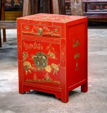 Product ID : 6523 - Category : Bedside Table - Product Name : Red Lacquer Chinese Style Gold Painted Bedside Cabinet