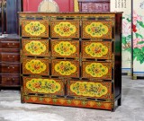 Product ID : 6851 - Category : Sideboard - Product Name : Tibetan Style Lacquer Painted 11 Drawer Sideboard