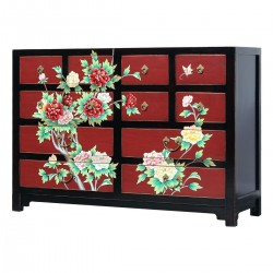 Product ID : 7086 - Category : Long Sideboard - Product Name : Chinese Style Black and Red Lacquer Painted Sideboard with 12 Drawers