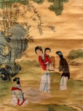 Product ID : 6342 - Category : Painting - Product Name : Vintage Chinese Original Water Ink Hand Painting Scroll The Lady