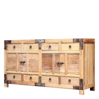 Product ID : 7037 - Category : Sideboard-Long - Product Name : Wooden Rustic Finish Sideboard with Metal Decor 8 Drawers and 4 Doors