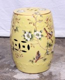 Product ID : 6957 - Category : Chair - Product Name : Yellow Lacquer Painted Ceramic Indoor Stool with Flower and Birds Pattern
