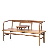 Product ID : 7073 - Category : Chair - Product Name : Original Ecology Natural Timber Style Long Sitting Bench with Small Table