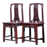 Product ID : 7129 - Category : Chair - Product Name : Pair of Antique Chinese Wooden Chair with Woodcarving Decor
