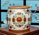 Product ID : 6834 - Category : Other Decor - Product Name : Wooden Double Side Leather Drum with White Lacquer and Lotus Painting