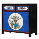 Product ID : 7110 - Category : Sideboard-Short - Product Name : Blue Lacquer Painted Small Sideboard with 2 Drawers and 2 Doors