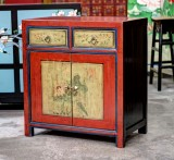 Product ID : 6768 - Category : Side Cabinet - Product Name : Chinese Red and Yellow Lacquer Painted Side Cabinet 2 Drawers 2 Doors