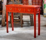 Product ID : 6546 - Category : Console Table - Product Name : Red Lacquer Hallway Console Table with 3 Drawer