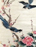Product ID : 6290 - Category : Painting - Product Name : Vintage Chinese Original Water Ink Hand Painting Scroll The Flower and Bird