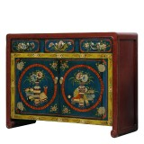 Product ID : 7089 - Category : Sideboard - Product Name : Mongolian Style Red and Black Lacquer Painted Sideboard with 3 Drawers and 2 Doors
