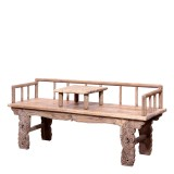 Product ID : 7038 - Category : Chair - Product Name : Original Ecology Natural Timber Style Long Sitting Bench with Small Table