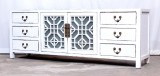 Product ID : 7045 - Category : TV Cabinet - Product Name : White Lacquer Painted TV Cabinet with Glass Door and 6 Drawers