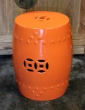Product ID : 6381 - Category : Chair - Product Name : Orange Glaze Chinese Double Coin Symbol Drum Style Ceramic Stool