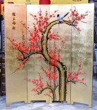 Product ID : 6792 - Category : Screen - Product Name : Gold Background Tree and Birds Lacquer Painted Folding Screen 4 Panels
