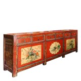 Product ID : 6723 - Category : Sideboard-Long - Product Name : Chinese Red Lacquer Painted Long Buffet Sideboard 6 Drawer 6 Door