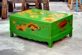 Product ID : 6615 - Category : Coffee Table - Product Name : Green Lacquer 4 Drawer Coffee Table with Gold Fish Painting