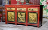 Product ID : 6813 - Category : Sideboard - Product Name : Vintage China Shanxi Province Lacquer Painted Cabinet with 3 Drawers and 3 Doors