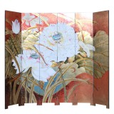Product ID : 7098 - Category : Screen - Product Name : Hand Painted 6 Panels Room Divider Folding Screen with Lotus Pattern