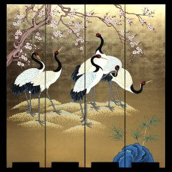 Product ID : 7010 - Category : Screen - Product Name : Hand Painted Four Panel Folding Screen with Cherry Blossom and Japanese Crane on Gold Leaf Background