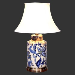Product ID : 6934 - Category : Lighting - Product Name : Blue and White Ceramic Table Lamp with Hand Painted Flower Pattern