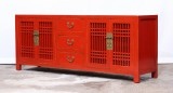 Product ID : 6985 - Category : TV Cabinet - Product Name : Red Lacquer Painted Wooden TV Cabinet with 3 Drawers and 2 Doorss