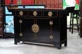 Product ID : 6776 - Category : Sideboard - Product Name : Chinese Black Lacquer Altar Style Long Cabinet with 3 Drawers and 2 Doors