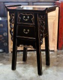 Product ID : 6390 - Category : Bedside Table - Product Name : Chinese Style Black Lacquer Altar Cabinet 2 Drawer