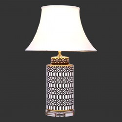 Product ID : 6946 - Category : Lighting - Product Name : Black and White Ceramic Table Lamp with Diamond Pattern