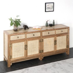 Product ID : 7026 - Category : Long Sideboard - Product Name : Chinese Style Rattan Inlay Wooden Sideboard with 4 Drawers and 4 Doors
