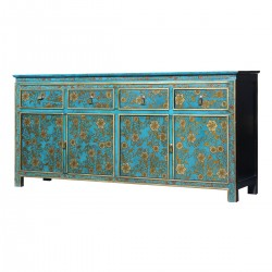 Product ID : 7101 - Category : Sideboard-Long - Product Name : Aqua Blue Lacquer Painted Sideboard with Gold Flower Pattern