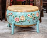 Product ID : 6692 - Category : Coffee Table - Product Name : Chinese Light Blue Lacquer Painted Double Sided Cowhide Leather Drum