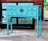 Product ID : 6825 - Category : Console Table - Product Name : Blue Chinese Style Hallway Console Table 4 Drawer 2 Door