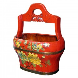 Product ID : 6100 - Category : Other Decor - Product Name : Chinese Style Red Lacquer Painted Bucket