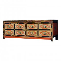 Product ID : 7128 - Category : TV Cabinet - Product Name : Tibetan Style Lacquer Painted TV Cabinet with 8 Drawers