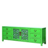 Product ID : 7072 - Category : TV Cabinet - Product Name : Green Lacquer Painted TV Cabinet with Glass Door and 6 Drawers