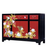 Product ID : 7087 - Category : Long Sideboard - Product Name : Chinese Style Black and Red Lacquer Painted Sideboard with 3 Drawers and 4 Doors
