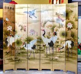 Product ID : 6714 - Category : Screen - Product Name : Gold Background Japanese Crane with Lotus Hand Painted Room Divider Screen