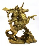 Product ID : 6460 - Category : Other Decor - Product Name : Brass Guan Gong Riding Figure 黃銅關公騎馬像