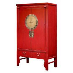 Product ID : 6677 - Category : Wardrobe - Product Name : Traditional Red Lacquer Chinese Wedding Cabinet Style Wardrobe with 2 Door and 4 Drawer