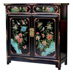 Product ID : 6884 - Category : Sideboard - Product Name : Black Lacquer Painted Cabinet with 2 Drawer and 2 Door